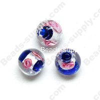 Foiled glass Round Beads ,Blue