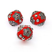 Indonesia Jewelry Beads, red,handmade beads,sold of 10 pcs