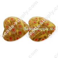 Millefiori Glass Multi-Flower Heart Radian Beads 22 mm