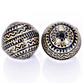 Plating Acrylic Beads, Golden Metal Enlaced, Corrugated Round, Black, 11mm, Hole: 1.4mm