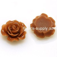 Resin Flower Cabochon, layered, coffee ,more colors for choice, 13mm, Sold by 200 pieces
