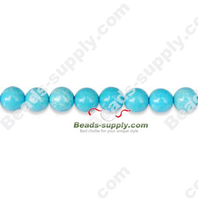 Turquoise 6mm Round Beads - Click Image to Close