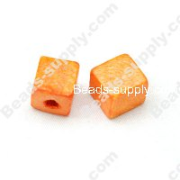 Wood Square Bead 10x10mm,Dark Yellow