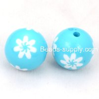16mm engraved flower Carved acrylic round beads,Aquamarine