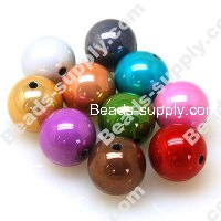 Acrylic Beads, Brightness Beads , Mixed Color ,Round 18mm
