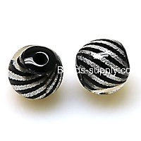 Bead,Resin Round Beads ,Twist Striped Woven inside , Black