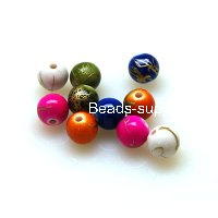Bead,Solid Gold Wiredrawing,8mm Acrylic round Beads , Assorted Color