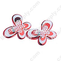 Bead, dots UV engraved , red color, 29x21x6mm butterfly beads. Sold per pkg of 100 PCS
