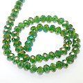 Bead,glass,AB plated crystal,D.K Green, 6x8mm faceted rondelle. Sold per 10 strands.