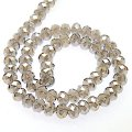Bead,glass,AB plated crystal,grey, 6x8mm faceted rondelle. Sold per 10 strands.