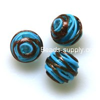 Bead, lampworked glass,blue line with copper-colored giltter,16mm Round Beads