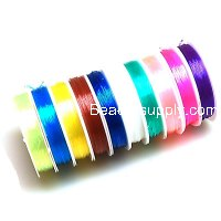 Beading wire,elastic,mixed color,0.6mm crystal wire