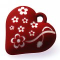 Beads,13x34x35mm satin rose heart beads,D.K red rubberized beads,sold of 100 pcs per pkg