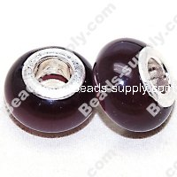 Beads,Large hole beads, european style beads ,8*14mm Cat's eye,Purple