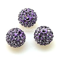 Beads,Pave Polyclay Round Beads 10mm , Violet