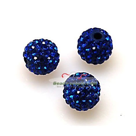 Beads,Pave Polyclay Round Beads 8mm , Sapphire - Click Image to Close