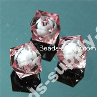 Colorful Bead in Bead Acrylic Cubic Beads 10mm