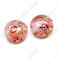 Foiled glass Coin Beads with milleflori