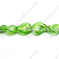 Glass Silver Foiled Twist Beads 12x15mm