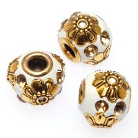 Indonesia Jewelry Beads, Drum shape,handmade beads with zinc alloy with rhinestone,white color