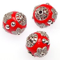 "Indonesia Jewelry Beads, Oval shape,handmade beads with antique""pewter""zinc-based,red color"