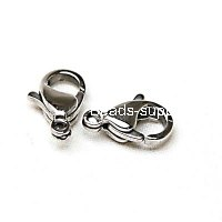 Lobster Clasp,Stainless Steel Clasp,316 steel, 10x6x4mm, Sold by Bag