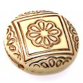 Plating Acrylic Beads, Golden Metal Enlaced, Corrugated Flat Round, Beige, 21x9mm, Hole: 1.8mm