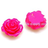 Resin Flower Cabochon, layered, fuchsia ,more colors for choice, 18mm, Sold by 200 pieces