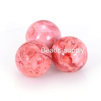 8mm round Spray-painted acrylic beads,red color