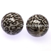 Bead,20mm leopard print acrylic round beads.White color,sold of 102 pieces