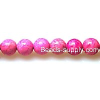 Bead ,Dyed Fossil beads ,round 10mm , pink