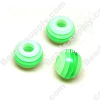 Bead, Resin, Green, Round 9*11 MM
