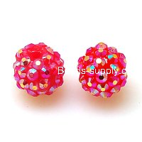 Bead,Round Resin Pave Beads,Fuchsia Base,Fushcia AB,Sold 100 Pcs Per Package
