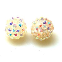 Bead,Round Resin Pave Beads,Lt Yellow Base,Lt Yellow AB,Sold 100 Pcs Per Package