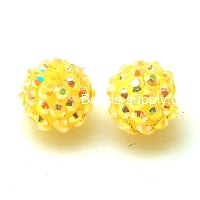 Bead,Round Resin Pave Beads,Yellow Base,Yellow AB,Sold 100 Pcs Per Package
