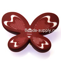 Beads,7x34x44mm satin butterfly beads,coffee rubberized beads,sold of 100 pcs per pkg
