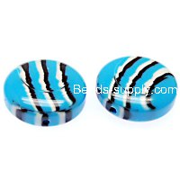 Beads,stripes damasks resin coin beads ,11x25mm,blue color