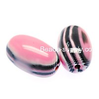 Beads,stripes damasks resin oval beads ,17x28mm ,pink color