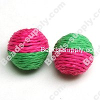 Crochet Beads 22mm ,Fuchsia with Green