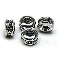European Style Beads ,plain beads , Rhodium plated,8x12mm