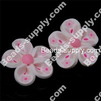 Fimo Flower Beads 25mm,White/Pink