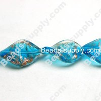 Glass Silver Foiled Twist Beads 15x25mm