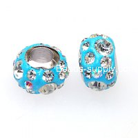 High quality fimo clay with crystal large hole beads,7x11mm Aqua pave beads for charm bracelets