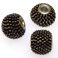 Indonesia Jewelry Beads, Drum shape,handmade beads with colorful ball chain,black