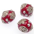 "Indonesia Jewelry Beads, Oval shape,handmade beads with antique""pewter""zinc-based,Burgundy color"