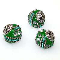 Indonesia Jewelry Beads, green 14x15mm,handmade beads,sold of 10 pcs