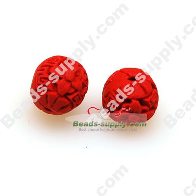 Lacquer carving Beads ,12mm ,Red - Click Image to Close