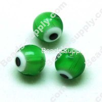 Millefiori Beads,eyes 10mm Green