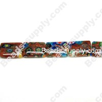 Millefiori Glass Multi-Flower Flat Rectangle Beads 10x14 mm