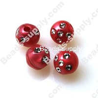 Pearl effect Beads , Silver accent Beads ,Round Beads 12mm ,Red